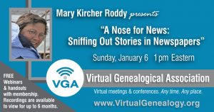 Details for the January 6th webinar with Mary Kircher Roddy