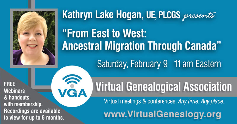 Title and time for Kathryn Lake Hogan's webinar on February 9th