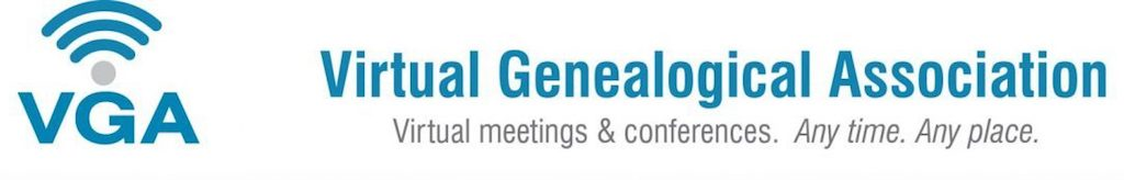 Virtual Genealogical Society logo, website title, and tagline